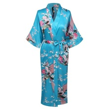 Summer Lake Blue Women Silk Satin Kimono Yukata Gown Bridesmaid Wedding Robe Nightgown Sleepwear Flower S M L XL XXL XXXL ZS04(China)