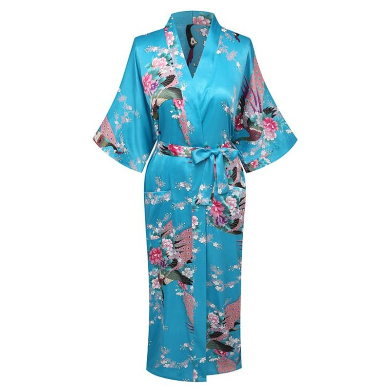 Summer Lake Blue Women Silk Satin Kimono Yukata Gown Bridesmaid Wedding Robe Nightgown Sleepwear Flower S M L XL XXL XXXL ZS04