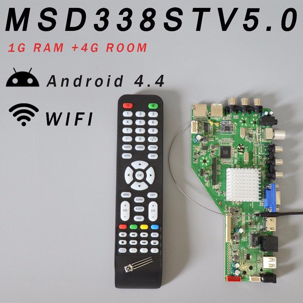 Ram 1g e 4g de armazenamento msd338stv5.0 rede sem fio inteligente tv placa motorista universal andrews lcd placa mãe 1024 m android