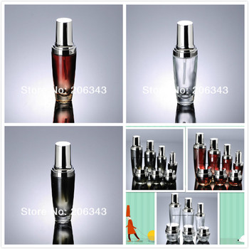 30ML red/clear/black glass bottle with silver press pump&lid for lotion/emulsion/serum/foundation/skin care cosmetic packing