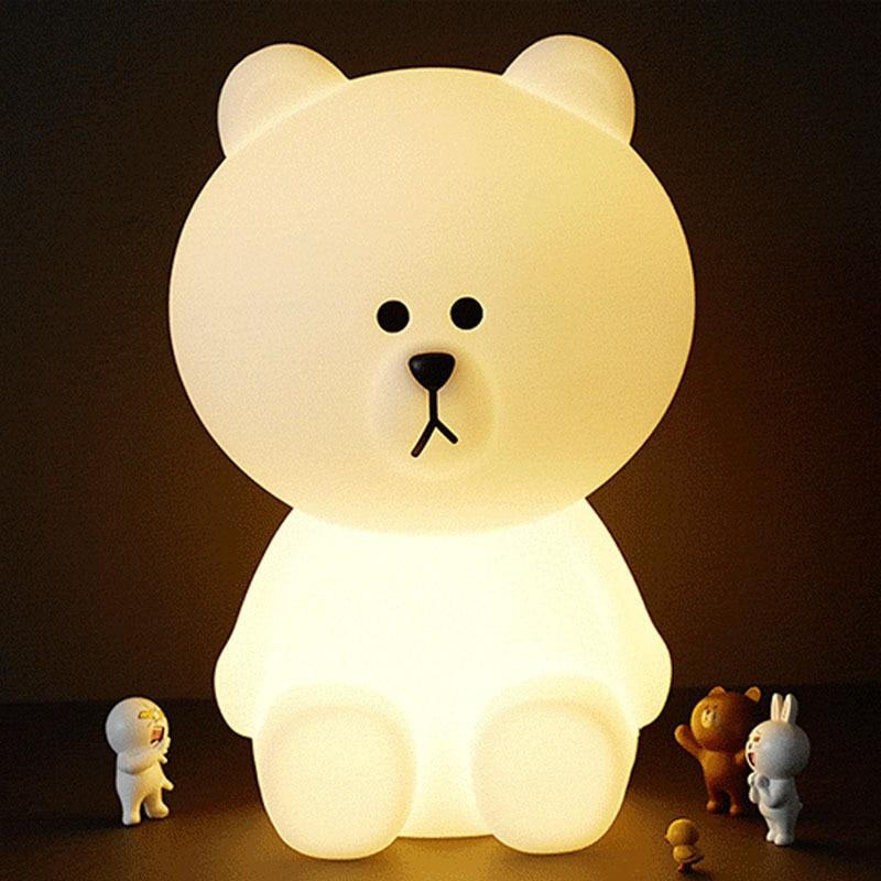 30CM Brown Bear LED Night Light Home Decoration Atmosphere Table Lamp Cute Animal Cartoon Children's Gift Light EU / US Plug