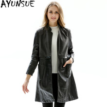 AYUNSUE 2019 New Leather Jacket Women Spring Autumn Faux Leather Coat Woolen Long Jackets Plus Size PU Jacket JR1604 KJ2375(China)