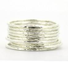 Lotsale 9 חתיכות מוצק 925 כסף סטרלינג מרוקע לערום טבעת לנשים