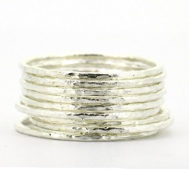Lotsale 9 قطع الصلبة 925 فضة مطروق خاتم مصمم من أجزاء متراصة للنساء
