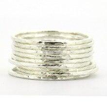 Lotsale 9 stück Massivem 925 Sterling Silber Gehämmert Stacking Ring Für Frauen
