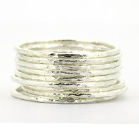 Hammered Stack Ring In Solid Sterling Silver All Sizes 1 To 16