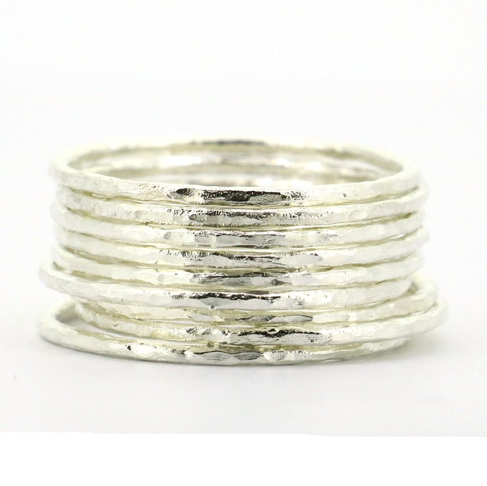 Lotsale 9pieces Solid 925 Sterling Silver Hammered Stacking Ring For Women