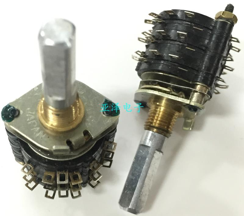 цена на 2PCS/LOT ALPS Alps SRRN rotating band switch, 3 layers, 6 knives, 5 stalls, hand wheel switch, 25 axis