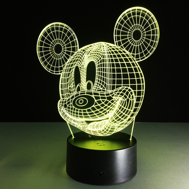 Cartoon Mickey Mouse Illusion LED Night Light Colorful