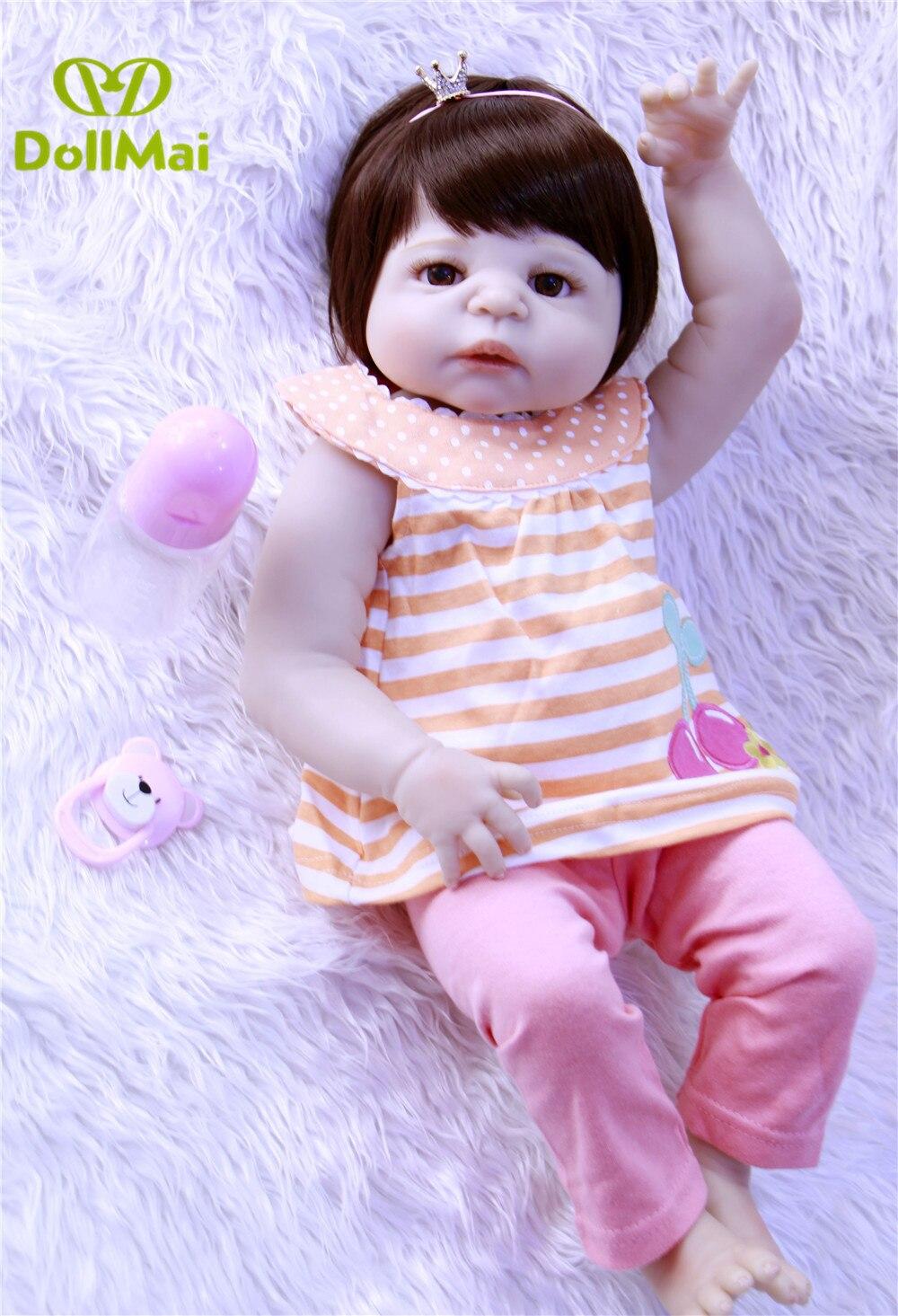 DollMai doll reborn 57cm full silicone reborn baby dolls newborn baby alive girl princess doll children gift toy dolls
