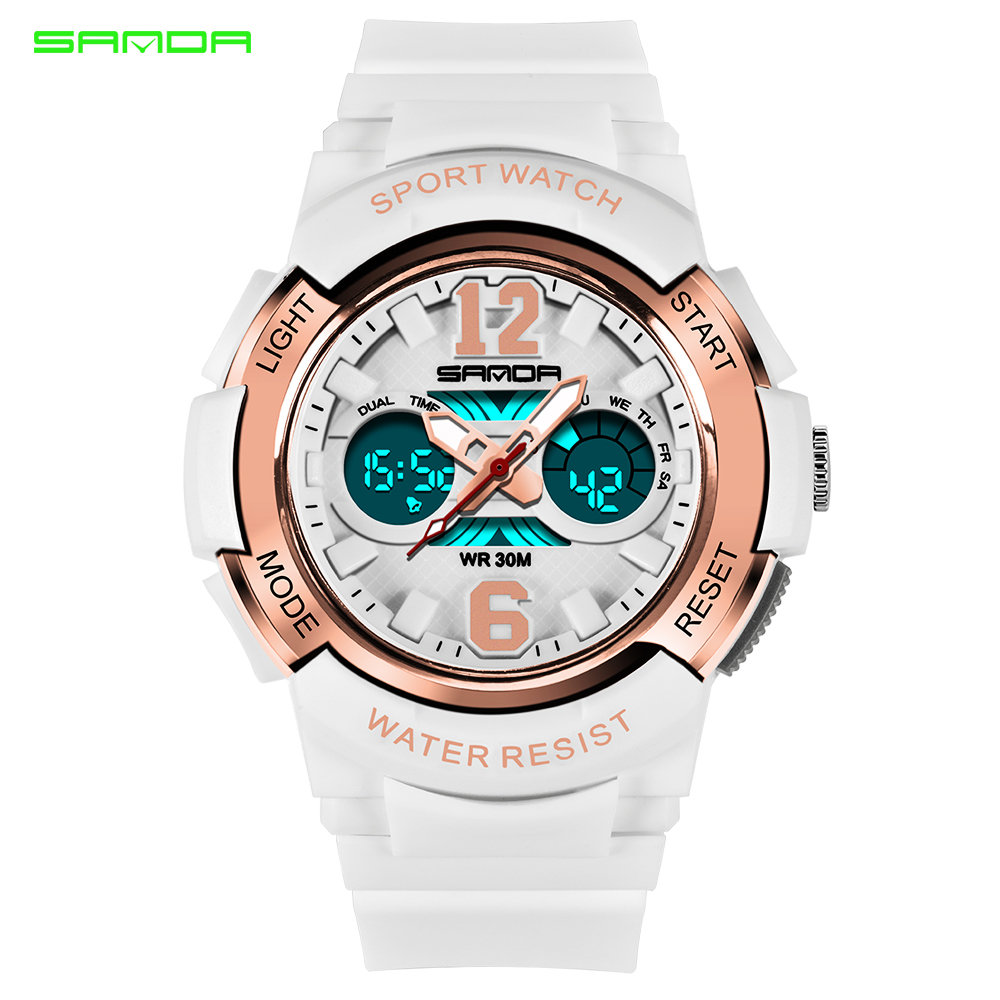 SANDA Women Sports Watches Fashion Waterproof LED Multifunction Digital Wristwatches Quartz Watch Montre Femme Relogio Feminino(China)