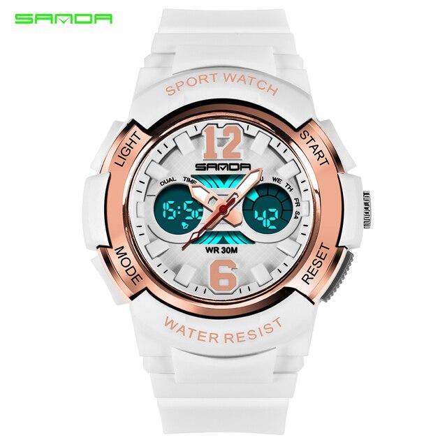 f3dd391744877 SANDA Women Sports Watches Fashion Waterproof LED Multifunction Digital  Wristwatches Quartz Watch Montre Femme Relogio Feminino