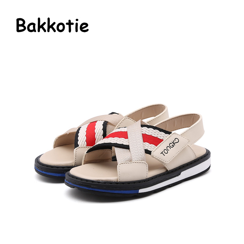 Bakkotie 2018 New Summer Toddler Boy Beach Genuine Leather Sandal Child Fashion Casual Flat Baby Girl Brand Woven Black Shoe Kid bakkotie 2017 new autumn baby boy casual shoes khaki genuine leather black kid girl brand flat shoes soft sole breathable child