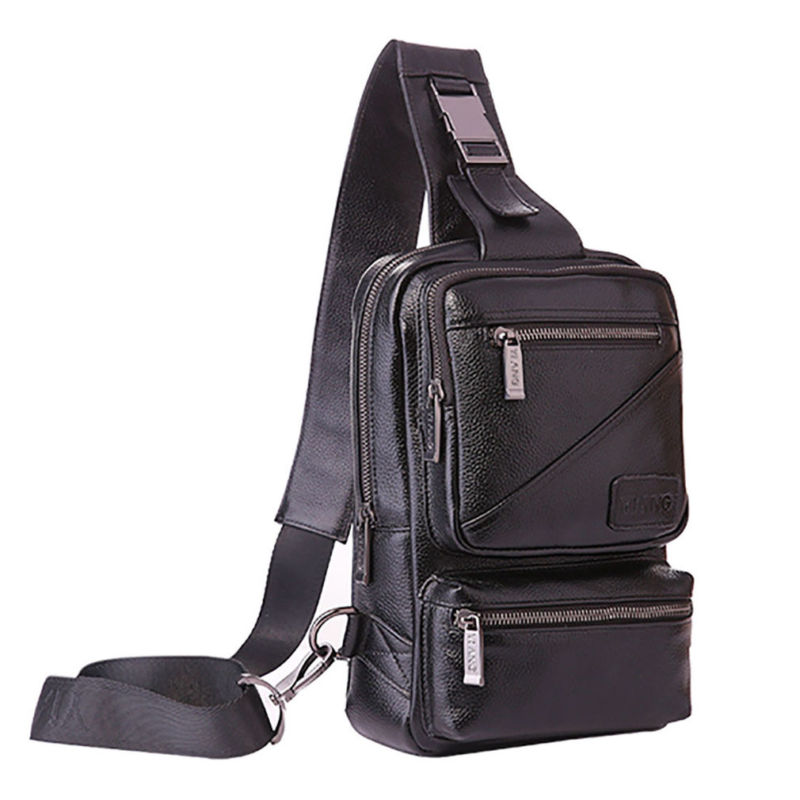 Men Leather Pack Sling Cross Shoulder Bag Messenger Chest Genuine Body string sling pack