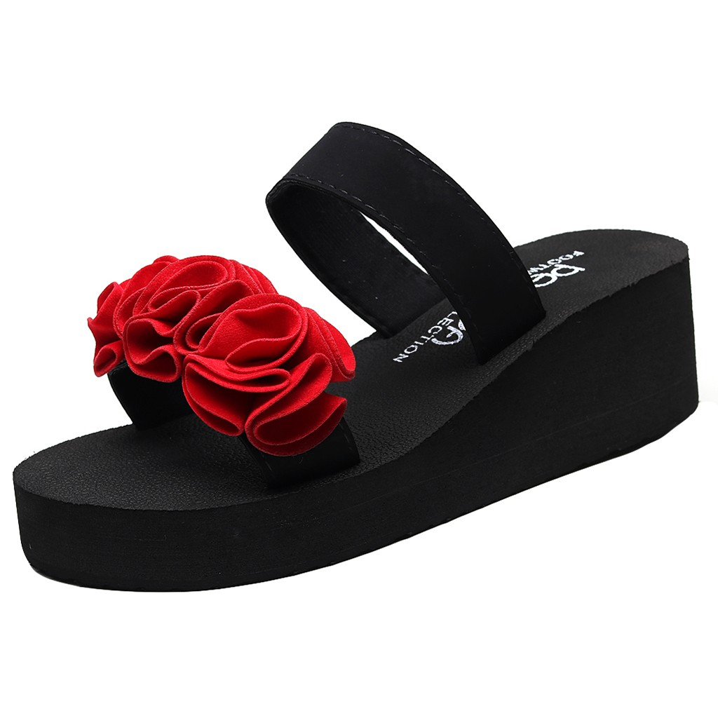 Fashion Summer <font><b>Women</b></font> Slip-on Outdoor Open Round Toe <font><b>Wedges</b></font> <font><b>High</b></font> <font><b>Heels</b></font> Black Color Flower <font><b>Sexy</b></font> Style <font><b>Slipper</b></font> <font><b>Shoes</b></font> May 22 image