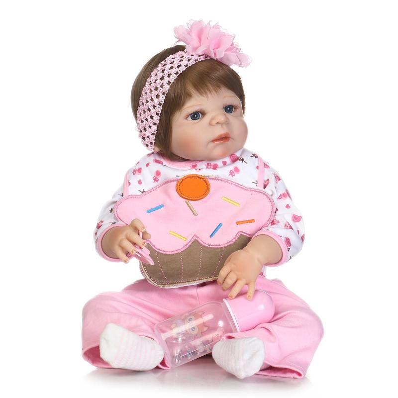 56cm Baby Doll Reborn Realistic Newborn Doll Pink Cloth Gift For Kids Birthday Reborn Doll for Girls Reborn Full Silicone Toys