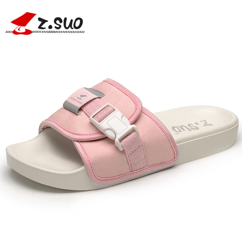 ZSUO 2018 Summer Women Slippers Outdoor Breathable Fashion Canvas Beach Shoes Women Open Toe Buckle Flat Sandals Pink Black suihyung design new women and men summer flat shoes hit color breathable hollow beach slippers flips non slip unisex sandals