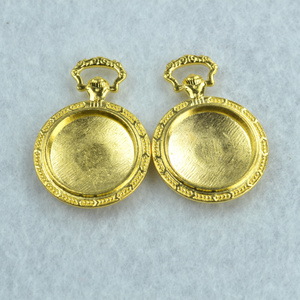 3pcs Gold color round Picture frame Charms Necklace Pendant Bracelet Jewelry Making Handmade Crafts diy Supplies 39*27mm 1566