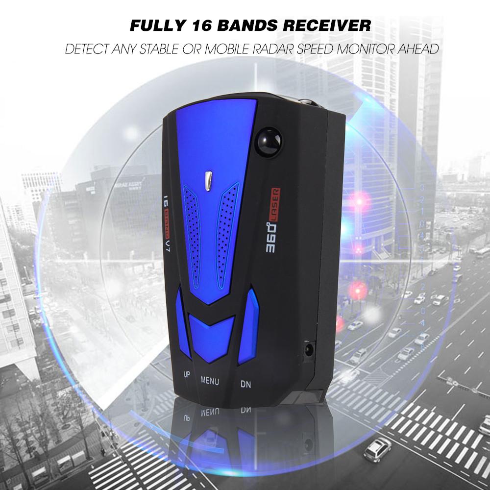 Prix pour Date Auto 360 Degrés Voiture Anti Détecteur de Radar pour Véhicule V7 Vitesse Voix D'avertissement Alerte avec 16 Bande LED Affichage détecteur