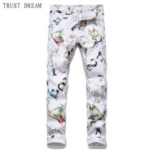 2019 Europeans Style Man white Jeans Slim Floral Men Printed 3D Pants homme hombre Personal Amazing Male Casual Cool Jean