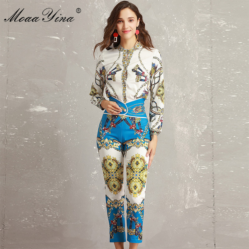 MoaaYina Fashion Designer Set Summer Women Long sleeve Vintage Stripe Print Holiday Slim Elegant Tops 3