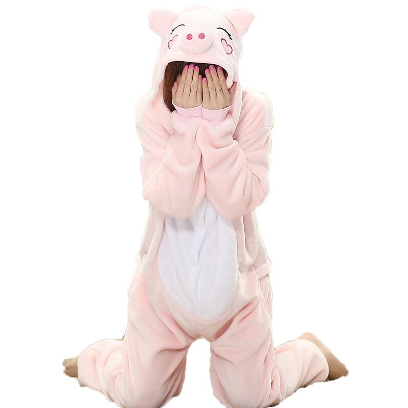 Adult Animal pyjamas One Piece Cartoon Flannel Pink Pig Pajamas Onesies Adults Costume Pajama Suit Sleepsuit Femme - men left women right store