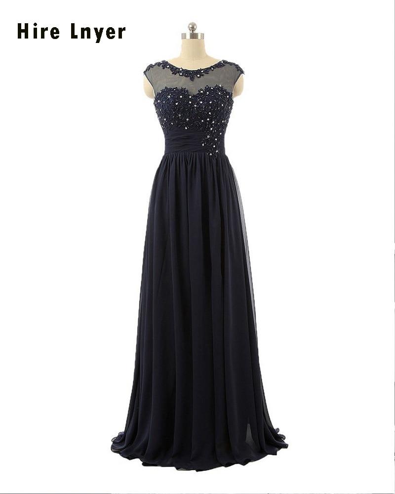 Najowpjg Custom Made Open Back Appliques Crystal Royal Blue Black Coral Champagne Lavender Mint Long Chiffon Bridesmaid Dresses