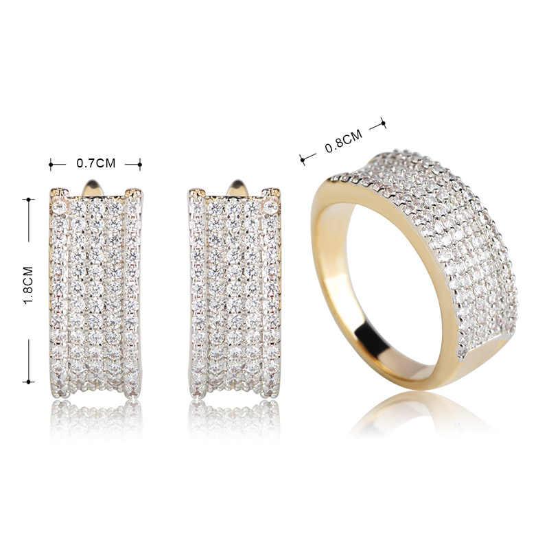 Dazz פשוט אלגנטי עגיל טבעת סטי עבור נשים בנות Pendientes אנל AAA + מעוקב זירקון מסיבת חתונת תכשיטי סט אירוסין מתנה