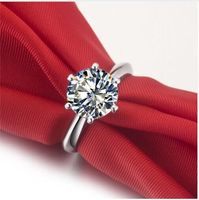 Hearts And Arrows 6 Prong Setting 0 6 3 Carat NSCD Simulated Gem Engagement Wedding Rings