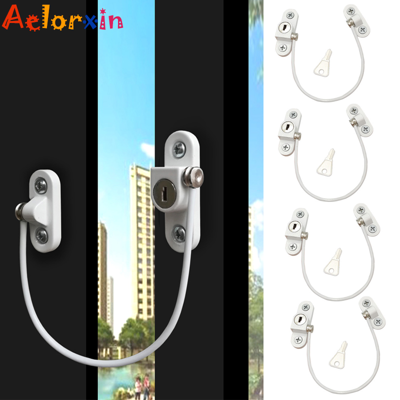 4Pcs/Lot Child Protection Baby Safety Window Limiter Stainless Steel Child Safety Security Window Protection Lock On The Window