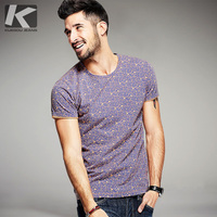 KUEGOU 2016 Summer Mens Fashion T Shirts 100 Cotton Brand Clothing Purple Flower Print Short Sleeve