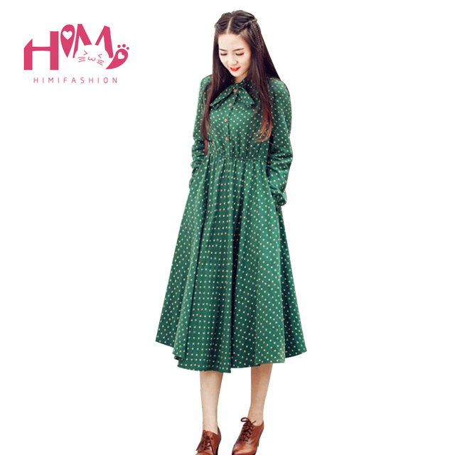 f000e698e5c9 Cute Green Floral Dress Vintage Ladies Dresses Bohemian Style Autumn Winter  Long Sleeves All Match New