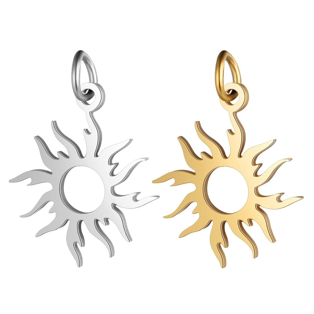 5pcs/lot 100% Stainless Steel Sun Charm Wholesale DIY Jewelry Making Charm Jewellery Making Charms Never Tarnished Steel Pendant