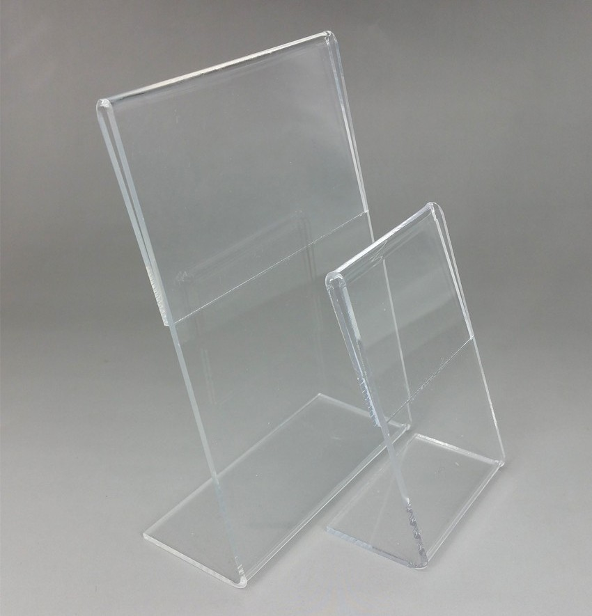 Wholesale Vertical Type Clear T2mm Acrylic A4A5 Plastic Sign Display Paper Promotion Card Table Label Holder L Stand 500pcs