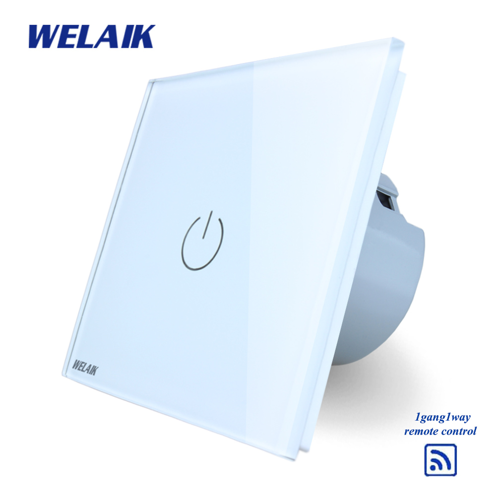 WELAIK  Glass Panel Switch White Wall Switch EU remote control Touch Switch Screen Light Switch 1gang1way AC110~250V A1913W/B makegood eu standard smart remote control touch switch 2 gang 1 way crystal glass panel wall switches ac 110 250v 1000w