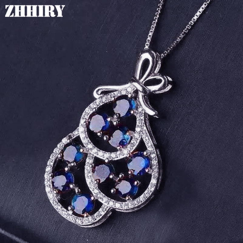 ZHHIRY Real Natural Sapphire Gemsstone Pendant Necklace Genuine Solid 925 Sterling Silver Fine Jewelry Noble Birthstone anmeilu 20l bicycle backpack with helmet net rain cover 2l bike water bag waterproof outdoor cycling hiking hydration backpack