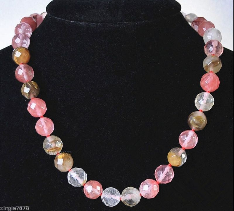 Selling Jewelry>>Pretty 10mm Faceted <font><b>Watermelon</b></font> <font><b>Tourmaline</b></font> Gem stones Round Beads Necklace 18inch image