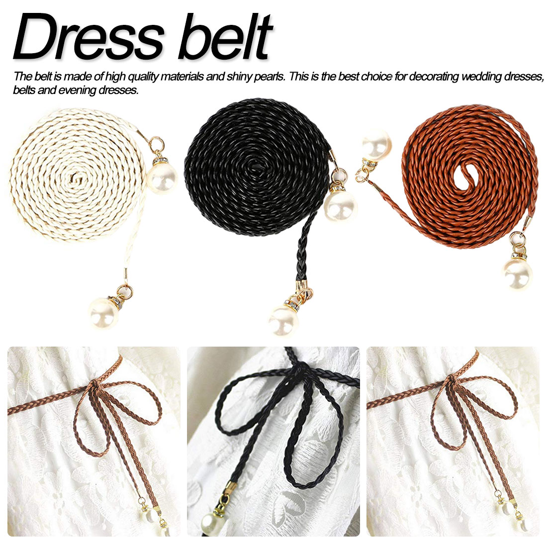 National Style New fashion decorative beaded belt knit pearl womens stretch simple ladies dress