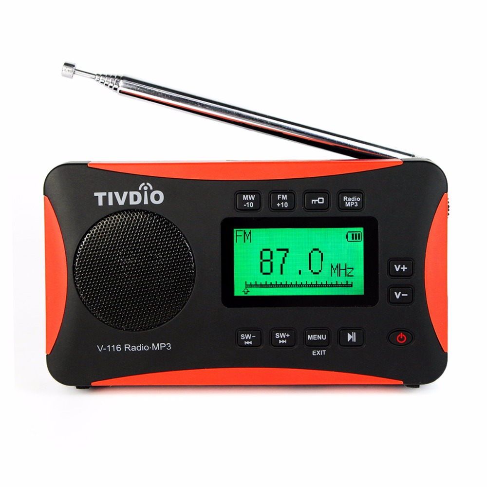 tivdio portable radio fm mw sw world receiver mp3 player with sleep timer alarm clock recorder. Black Bedroom Furniture Sets. Home Design Ideas