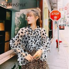TWOTWINSTYLE Vintage Leopard Print Shirts Bluse Frauen Rüsche Laterne Lange Sleeveperspective Tops Weibliche 2019 Mode Flut(China)