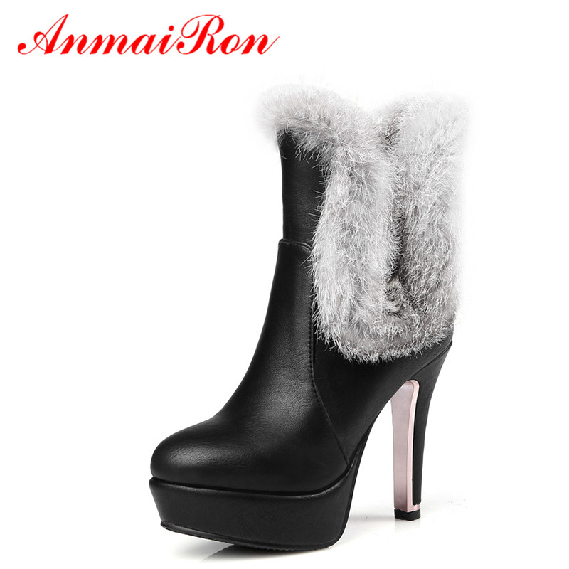 ФОТО ANMAIRON Winter Ankle Boots for Women High Heels Short Plush Big Size 34-47 Platform Boots Women High Pumps