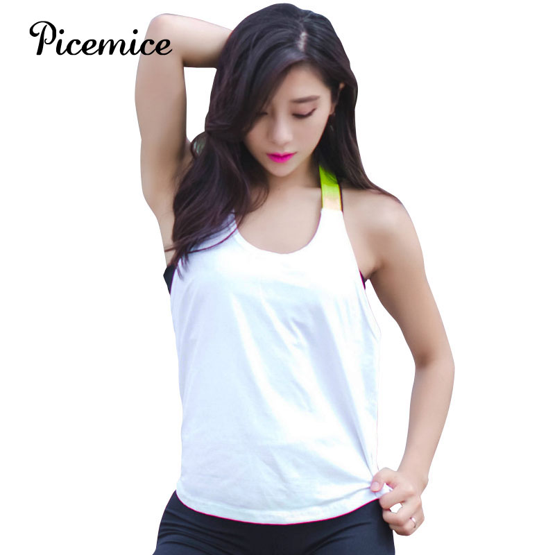 Picemice Womens Sport Shirts Yoga Tops Sleeveless Vest Fitness Running Clothes For Female Breathable Tank Tops Running Vest in Yoga Shirts from Sports Entertainment