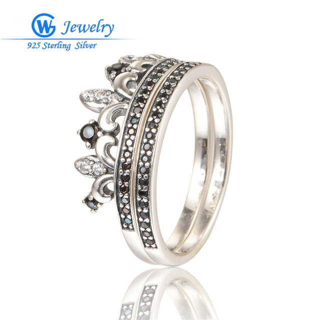 Joyeria Marcas Famosas 925 Sterling Silver Crown Ring Pave Cubic Zirconia For Women Party Silver Ring Gw Fine Jewelry RIPY085H30