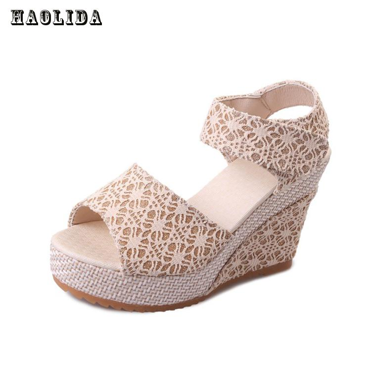 2017 New Women Sweet Buckle Open Toe Wedges Sandals Women's Platform Sandals Fashion Summer Shoes Women Casual Shoes High-heeled vtota new summer sandals women shoes woman platform wedge sweet flowers buckle open toe sandals floral high heeled shoes q75