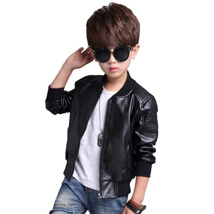 1d7c58e2b48e ... 2018 New Baby Boy faux Leather Jacket Boys Coat Black and Brown Color  Children Jackets Manteau