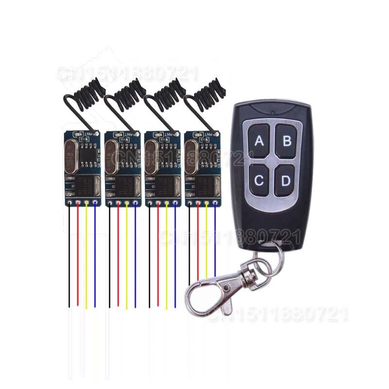 Mini Wireless Remote Control Switch 3.7v 4.5v 5v 6v 9v 12v Micro Receiver Switch+ Transmitter DC3.5V-12V Wide Voltage
