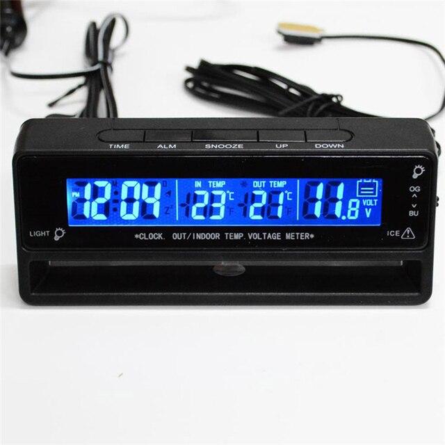 072474a2757 Tela LCD de Alarme de Carro Auto Relógio Voltímetro Termômetro 3in1 Temperatura  Tensão Da Bateria Tempo
