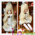Long light bronde water wavy wig for 1/3 1/4 1/6  BJD doll