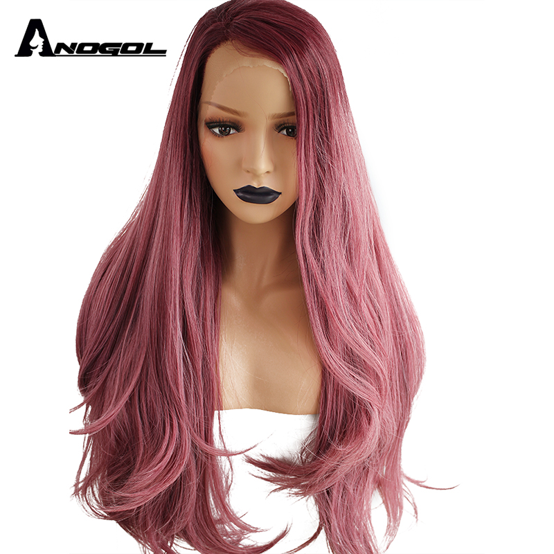 Anogol Long Natural Wave High Temperature Fiber Hair Side Part Ombre Purple Synthetic Lace Front Wig for Drag Queen Costume