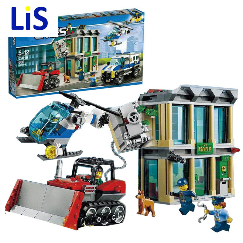Lis Lepin 02019 606Pcs City Series The Bulldozer Break-in Children Educational Building Blocks Bricks Boy Toys Compatible 60140 1712 city swat series military fighter policeman building bricks compatible lepin city toys for children